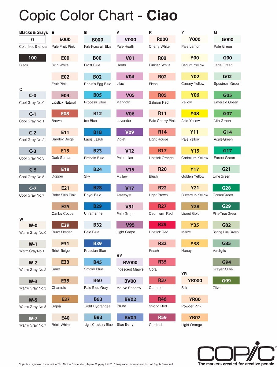 Copic Ciao Double Ended Marker Pens Colour Chart