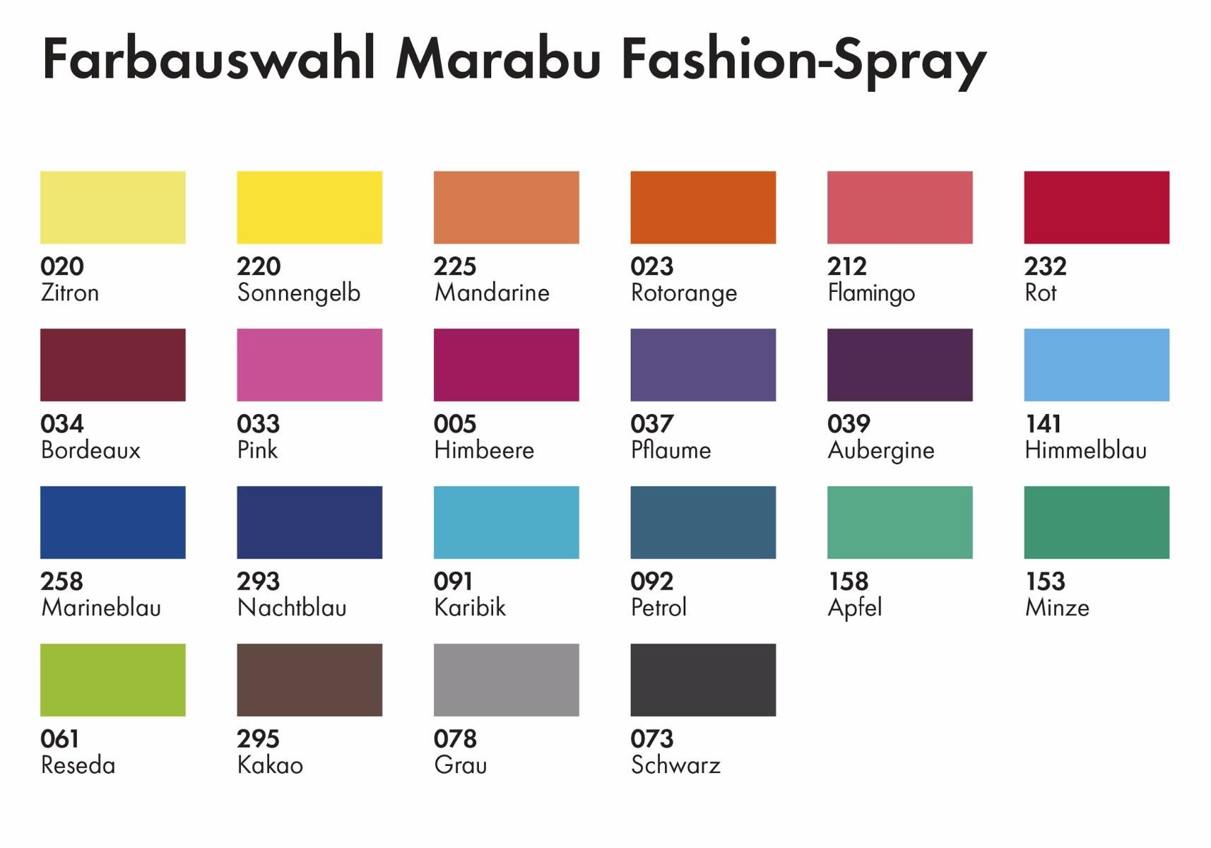 Marabu Fashion Colour Fabric Textile Spray Colour Chart