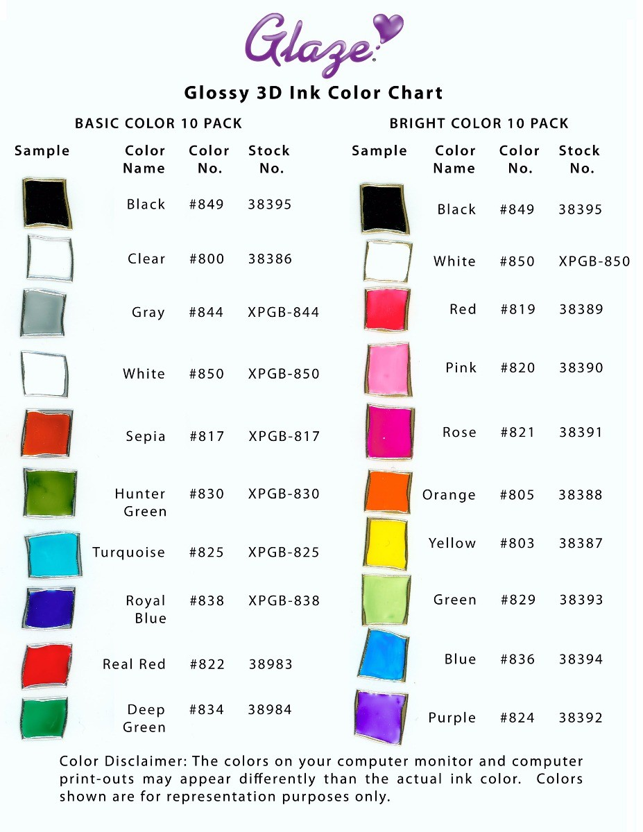 Sakura gelly roll glaze 3d pens colour chart sakura gelly roll glaze pens colour chart nvjuhfo Image collections
