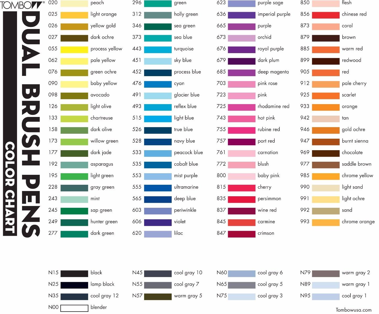Tombow Abt Pens Colour Chart