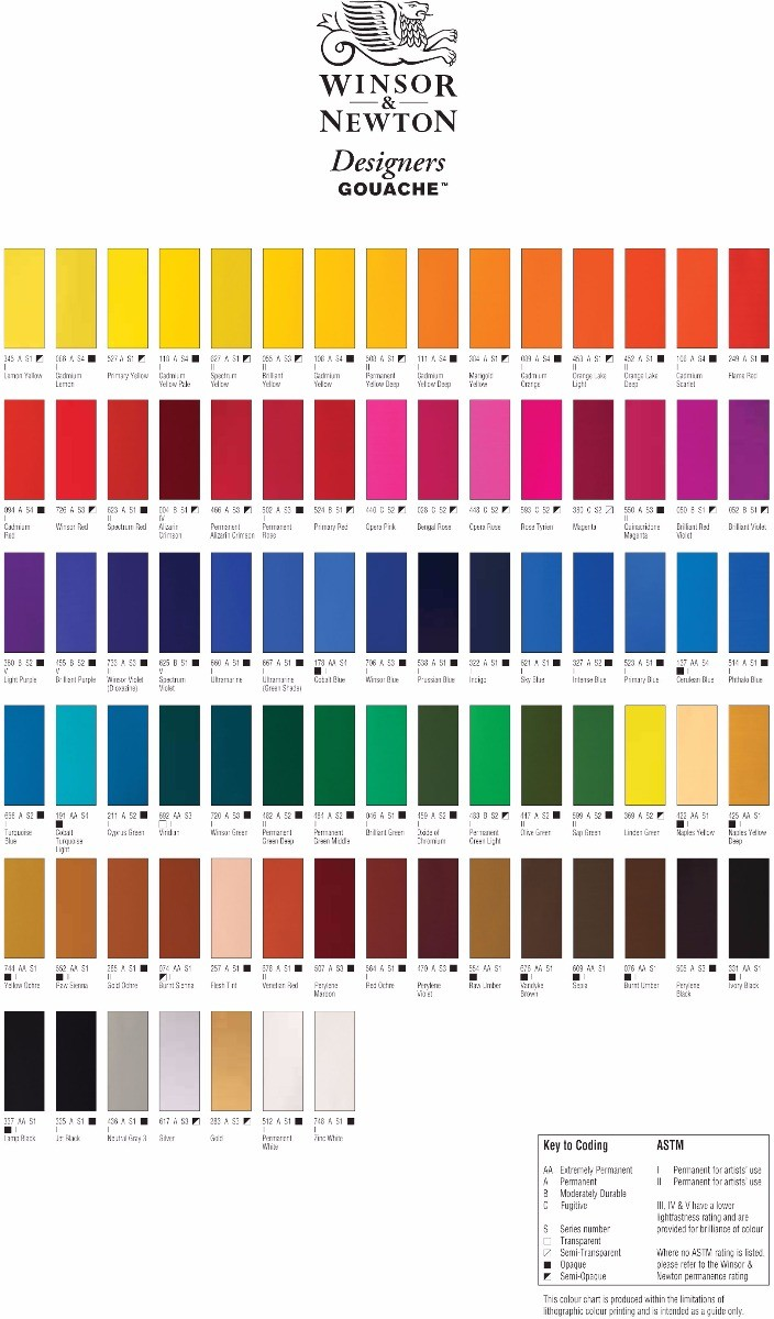 Winsor And Newton Gouache Colour Chart