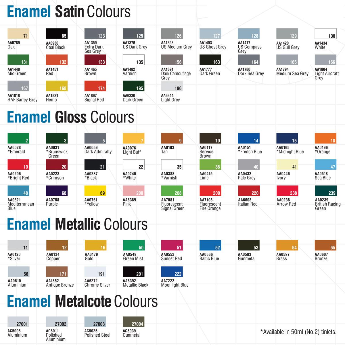 Williamsburg Paint Colors Humbrol Enamel Modelling Paint Tinlets Colour Chart