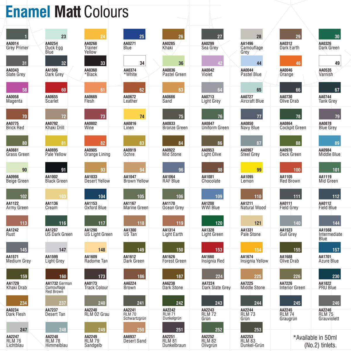 humbrol paint chart: Humbrol enamel modelling paint tinlets colour chart