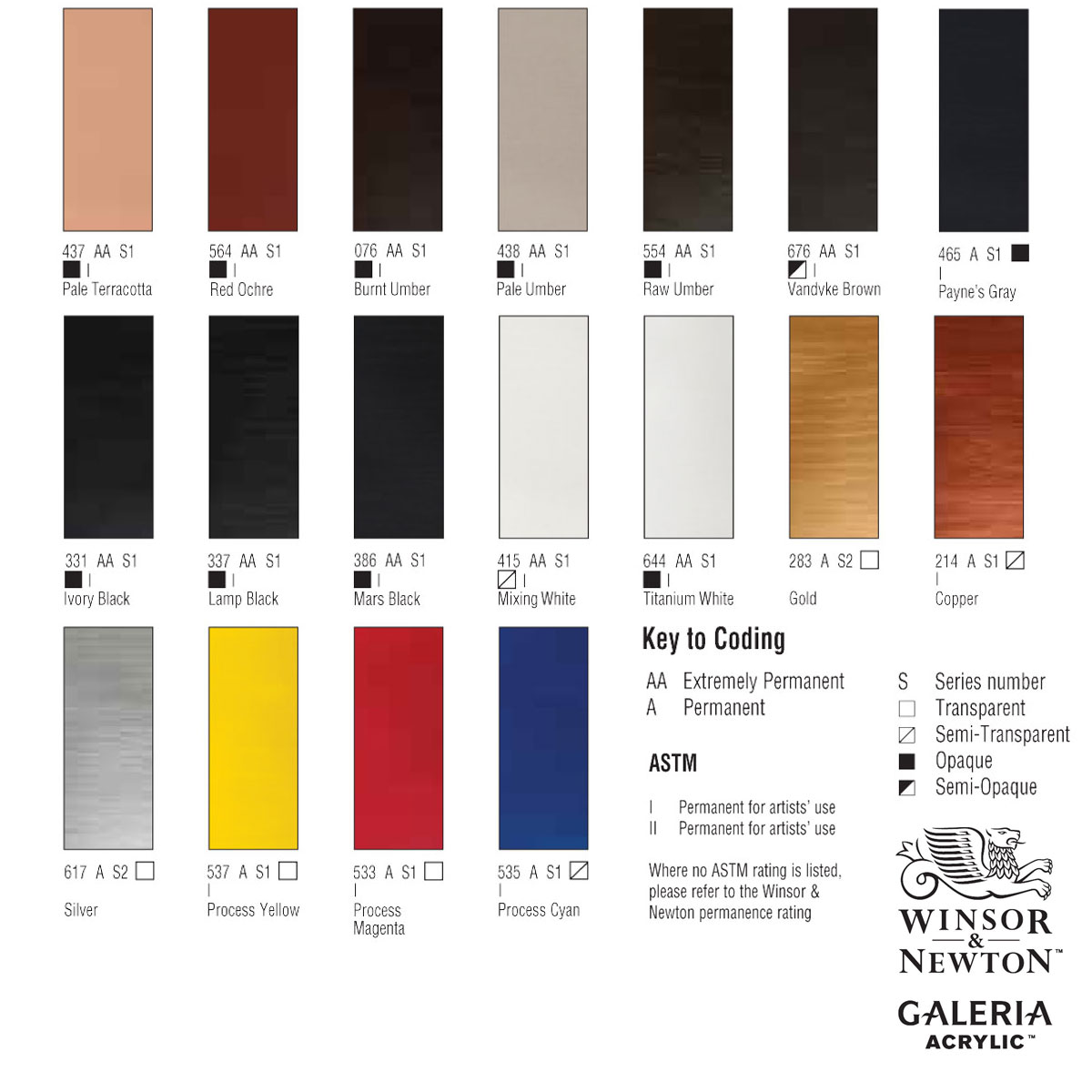Winsor And Newton Galeria Acrylic Paint Colour Chart