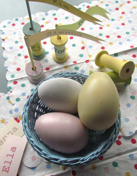 Set the table with co-ordinated style Painted Pastel Eggs