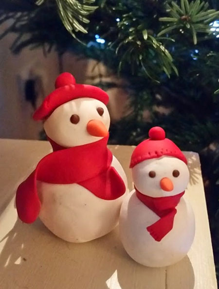 Snowman figures made from Sculpey III