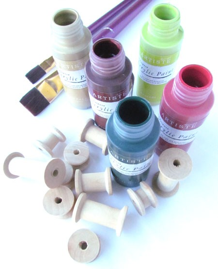 Wooden Cotton Reels and Artiste Craft Acrylic Paint