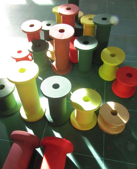 Arranging your painted Cotton Reels