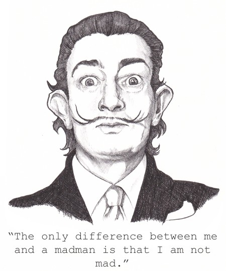 Salvador Dali - Pen and Ink Drawing by Kim Curtis