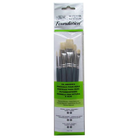 Winsor & Newton Foundation Hog Brush Set of 6