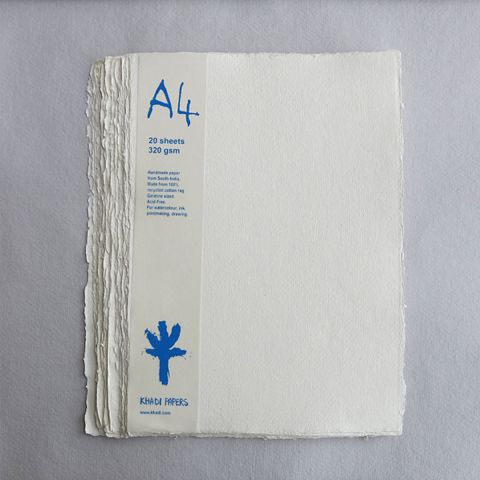 Khadi White Cotton Paper Pack 320gsm A4 20 Sheets