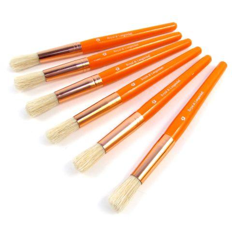 6 Large Chubby Brushes. ORANGE Wooden Brush Handles