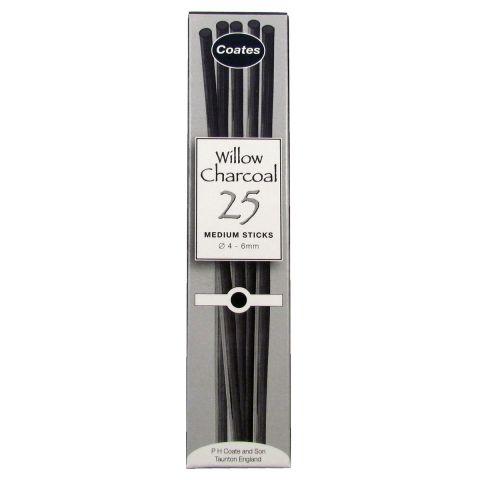 Coates Willow Charcoal 25 Medium Sticks. Artists Willow Charcoal Box