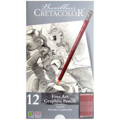 Cretacolor Cleos Fine Art Graphite Pencil Artists Tin Set of 12 Grades 9B to 2H