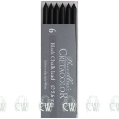 Pack of 6 Cretacolor Artists Black Chalk 5.6mm Clutch Pencil Leads