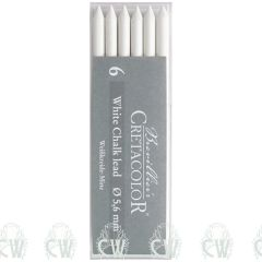 Pack of 6 Cretacolor Artists White Chalk Medium 5.6mm Clutch Pencil Leads