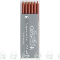 Pack of 6 Cretacolor Artists Sanguine Oil 5.6mm Clutch Pencil Leads