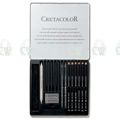 Cretacolor Artists Pencils Black Selection Tin Set
