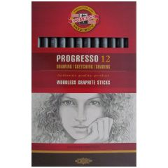12 Progresso Woodless Graphite Sticks 6B
