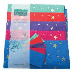 Handmade Lokta Giftwrap Pack Stars 5 Sheet Pack