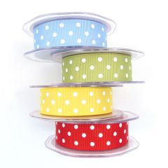 10 Metre Roll Grosgrain Fabric Polka Dot Spot Ribbon 25mm