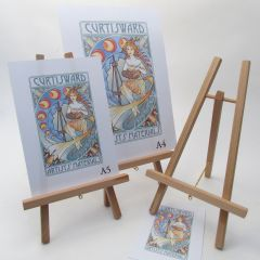 3 Pack of Small Wooden Table Easels. Display Frames, Art. 28cm High