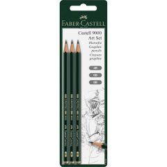 Faber Castell 9000 Art Set of 3 Pencils (4B,6B,8B)