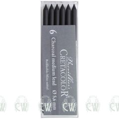 Pack of 6 Cretacolor Artists Medium Charcoal 5.6mm Clutch Pencil Leads