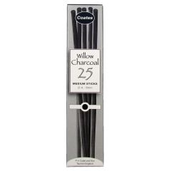 Coates Willow Charcoal 25 Medium Sticks. Artists Willow Charcoal Box