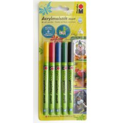 Marabu Deco Paint Pen Set of 5 Multi Surface Art & Craft Paint Markers 1-2mm Nib