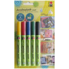 Marabu Deco Paint Pen Set of 5 Multi Surface Art & Craft Paint Markers 3-4mm Nib