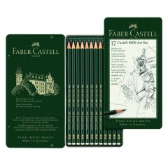 Faber Castell Finest Artist 9000 12 Drawing Pencil Tin Art Set 8B-2H