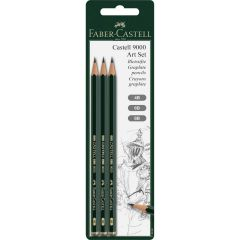 Faber Castell 9000 Art Set of 3 Pencils (4B,6B,8B)
