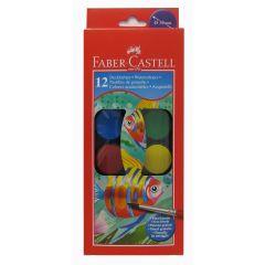 Faber Castell Watercolour 12 Large Pan Paint Set. Includes free brush.