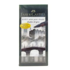 Faber Castell Artist Pitt Brush Pens Shades of Grey Colours Set of 6