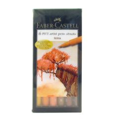 Faber Castell Pitt Artist 6 Brush Pen Wallet Set Terra