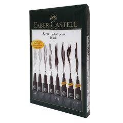 Faber Castell Pitt Artist Pens 8 Assorted Black