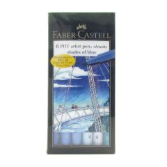 Faber Castell Pitt Artist 6 Brush Pen Wallet Set Blues