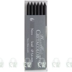 Pack of 6 Cretacolor Artists Nero Medium 5.6mm Clutch Pencil Leads