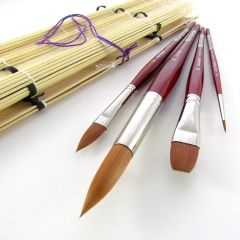 Da Vinci Cosmotop-Spin Brush Set in Bamboo Brush Roll Set 4018