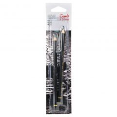 Conte Set of 2 Black Pastel Drawing Pencils