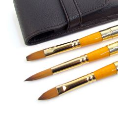 Pro Arte Artists Leather Wallet Travel Set of 3 Retractable Watercolour Brushes