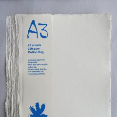 Khadi White Cotton Paper Pack 320gsm A3 20 Sheets