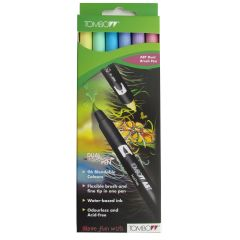 Tombow ABT Dual Brush Pen 6 Colour Pastel Set