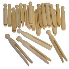 Pack of 24 Traditional Style Wooden Dolly Pegs