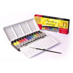 Sennelier Artists Watercolour Classic 12 Tube Metal Box Set Box. Includes Brush