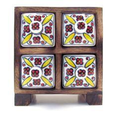 Mini Wooden Ceramic 4 Drawer Set