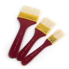 """Set of 3 Royal Artists Large Firm White Bristle Brushes. Acrylic,Oil 1"""",2"""",3"""""""