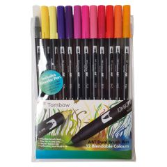 Tombow Brush Pen 12 Colour SUNSET SET. Double Ended Artist & Craft Marker Pens