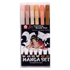 Sakura Koi Colouring Brush Pen Set of 6 Pens Skin Tones